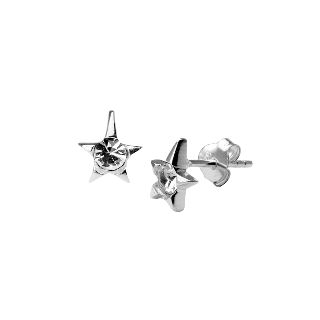 Sterling Silver Tiny Star CZ Stud Earrings