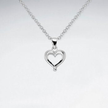 Sterling Silver Romantic Heart Necklace