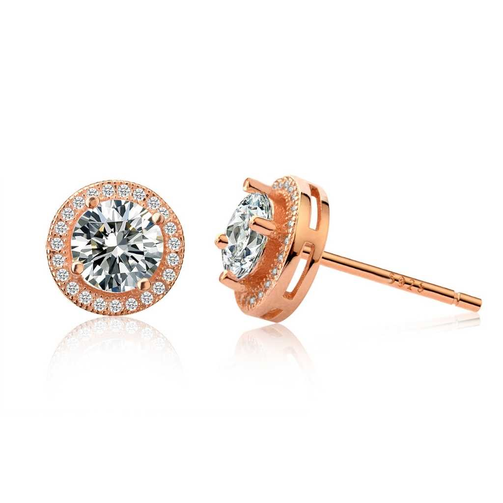 Rose Gold Stud Earrings with sparking centre cubic zirconia stone