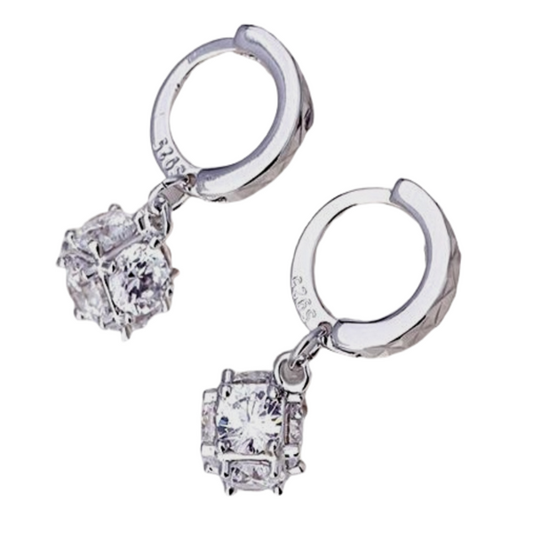 Sterling Silver CZ Stone Huggie Earrings