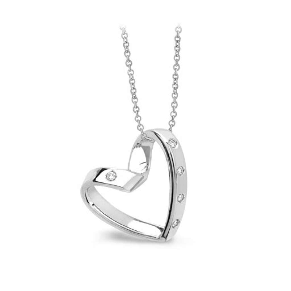 sterling silver heart necklace encrusted in sparkling cubic zirconia stones on chain