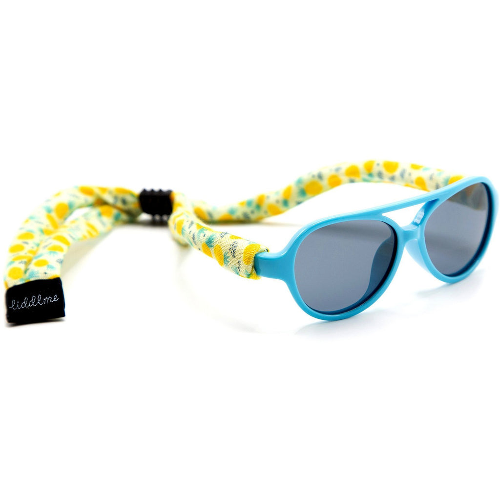 Liddlme Baby Polarized Blue and Yellow Sunglasses with Pineapple Strap
