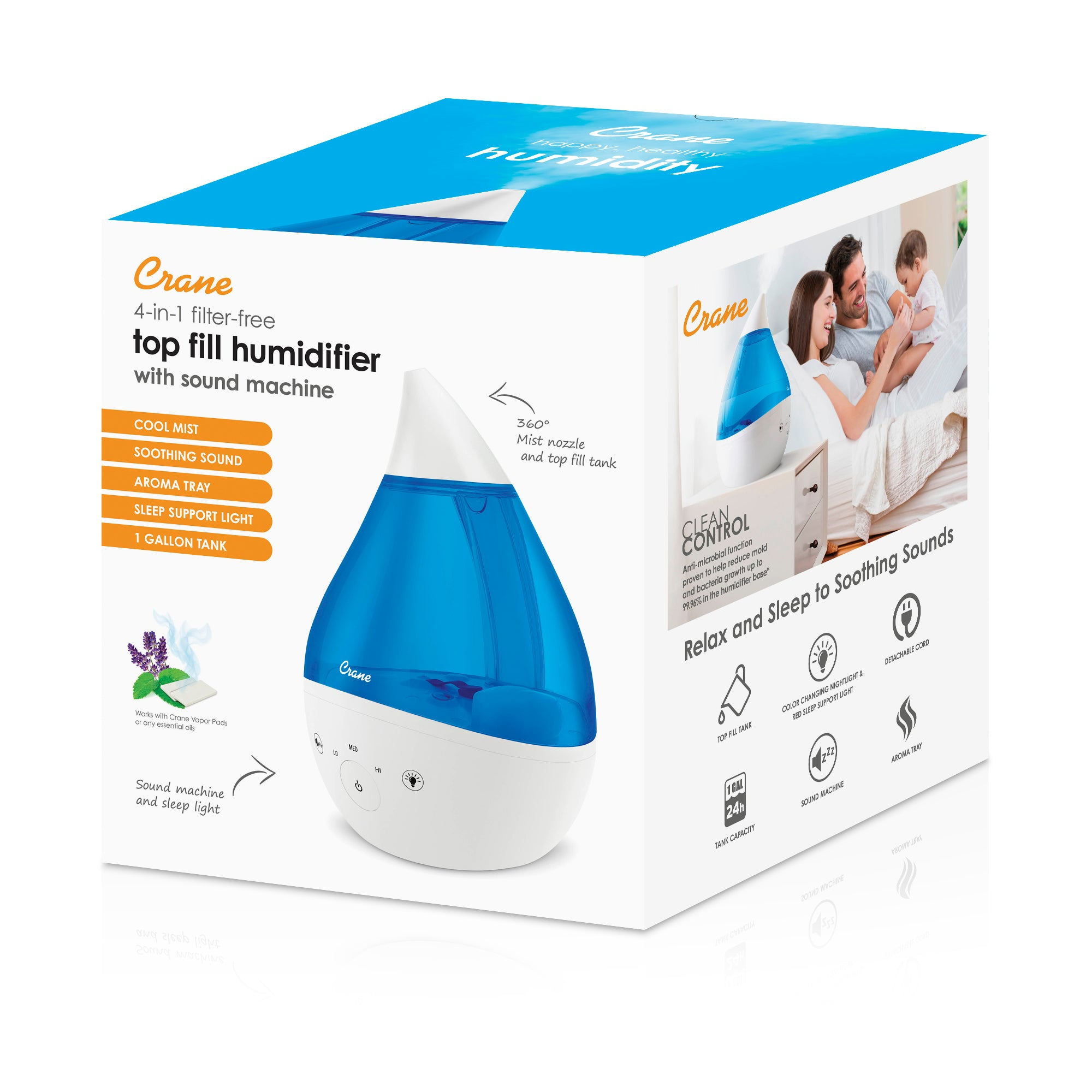Crane 4-in-1 Cool Mist Humidifier with Sound Machine - Blue & White