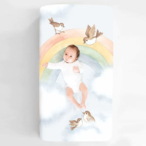 Rookie Humans Rainbow and Birds Standard Size Crib Sheet