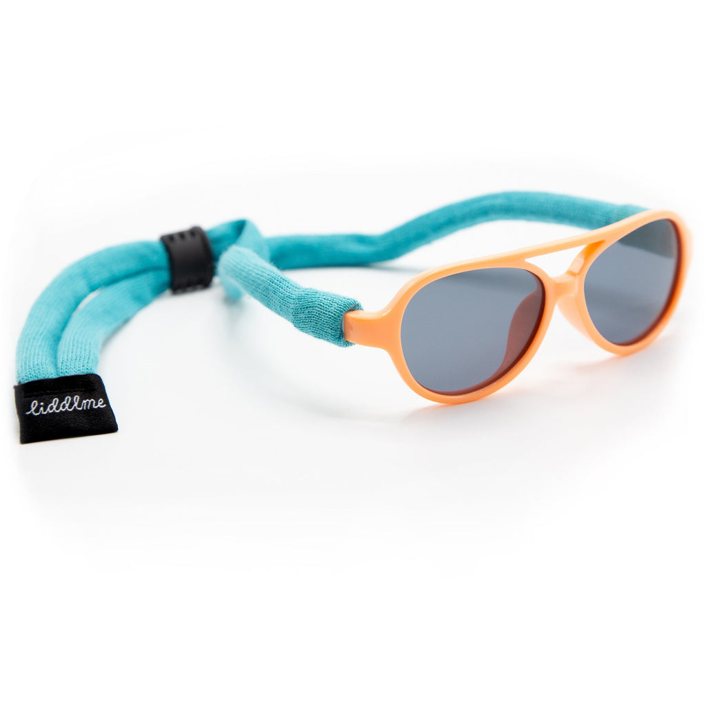 Liddlme Baby Polarized Peach and Teal Sunglasses with Teal Strap