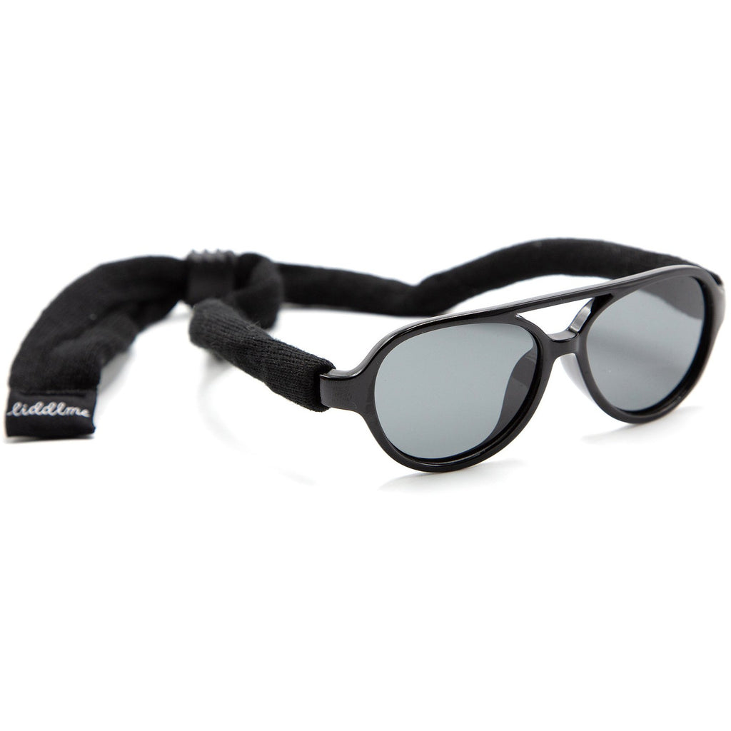 Liddlme Baby Polarized Black Sunglasses with Black Strap