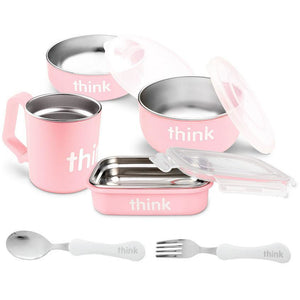 Thinkbaby The Complete BPA Free Feeding Set with Fork and Spoon - Pink