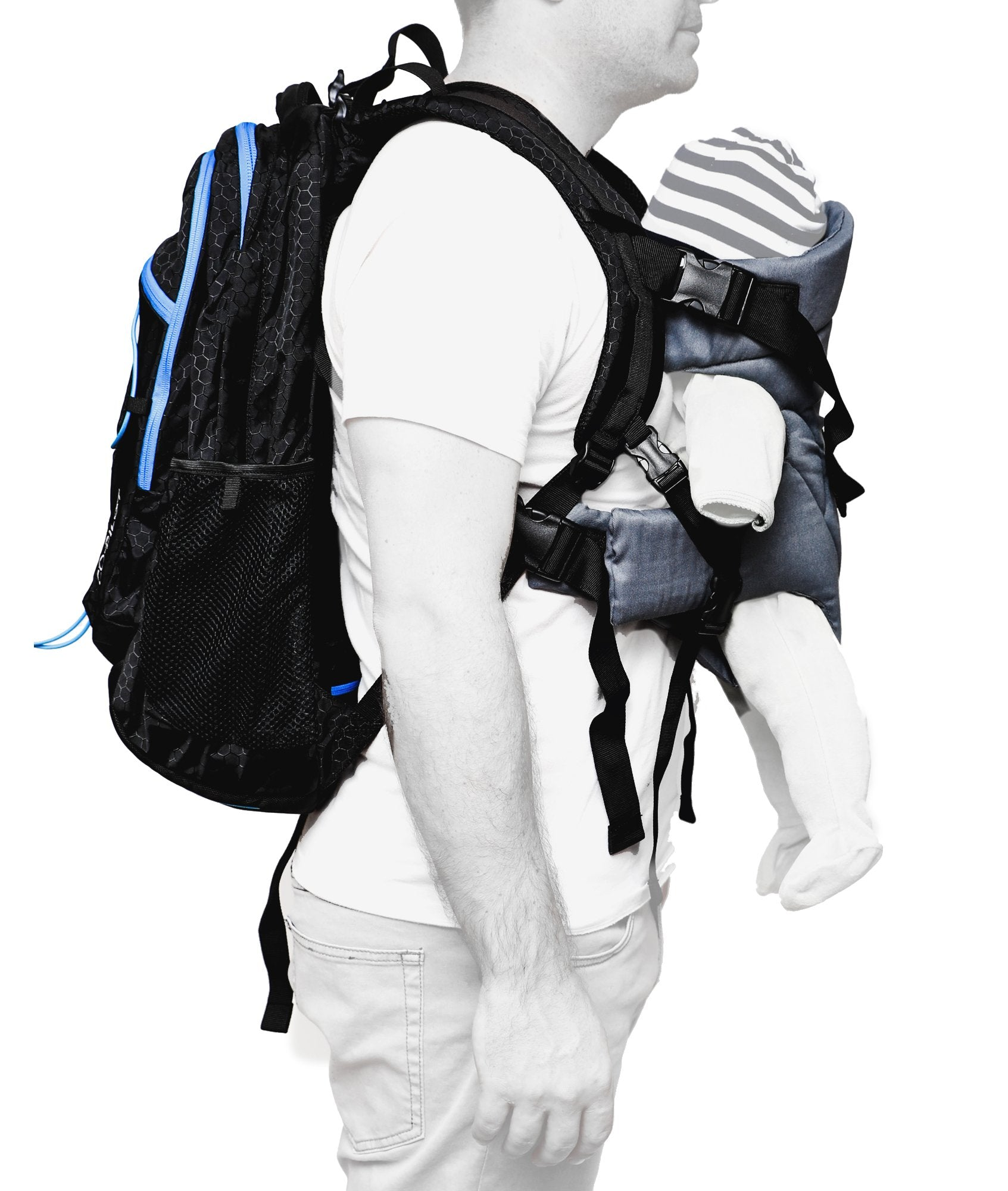 JP Outdoor Co. Co-Pilot Day Pack, Baby Carrier and Parenting Bag  - Black/Blue