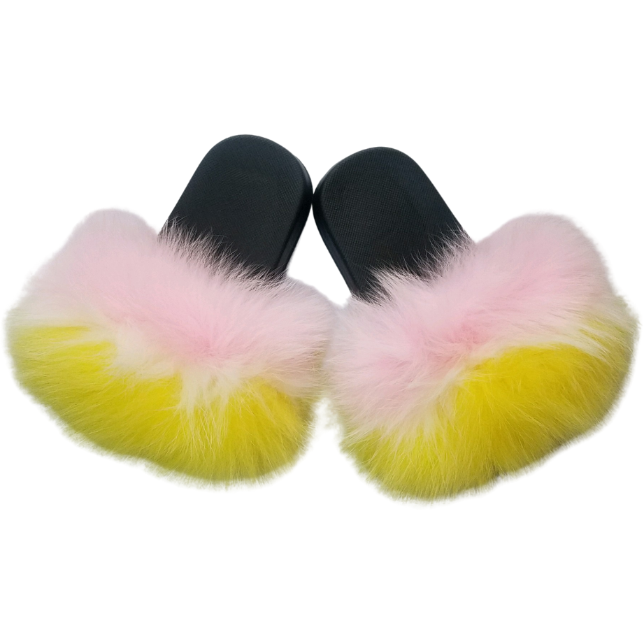 Baby Says Soft Pink and Yellow Baby Fur Slides | Pompom slippers