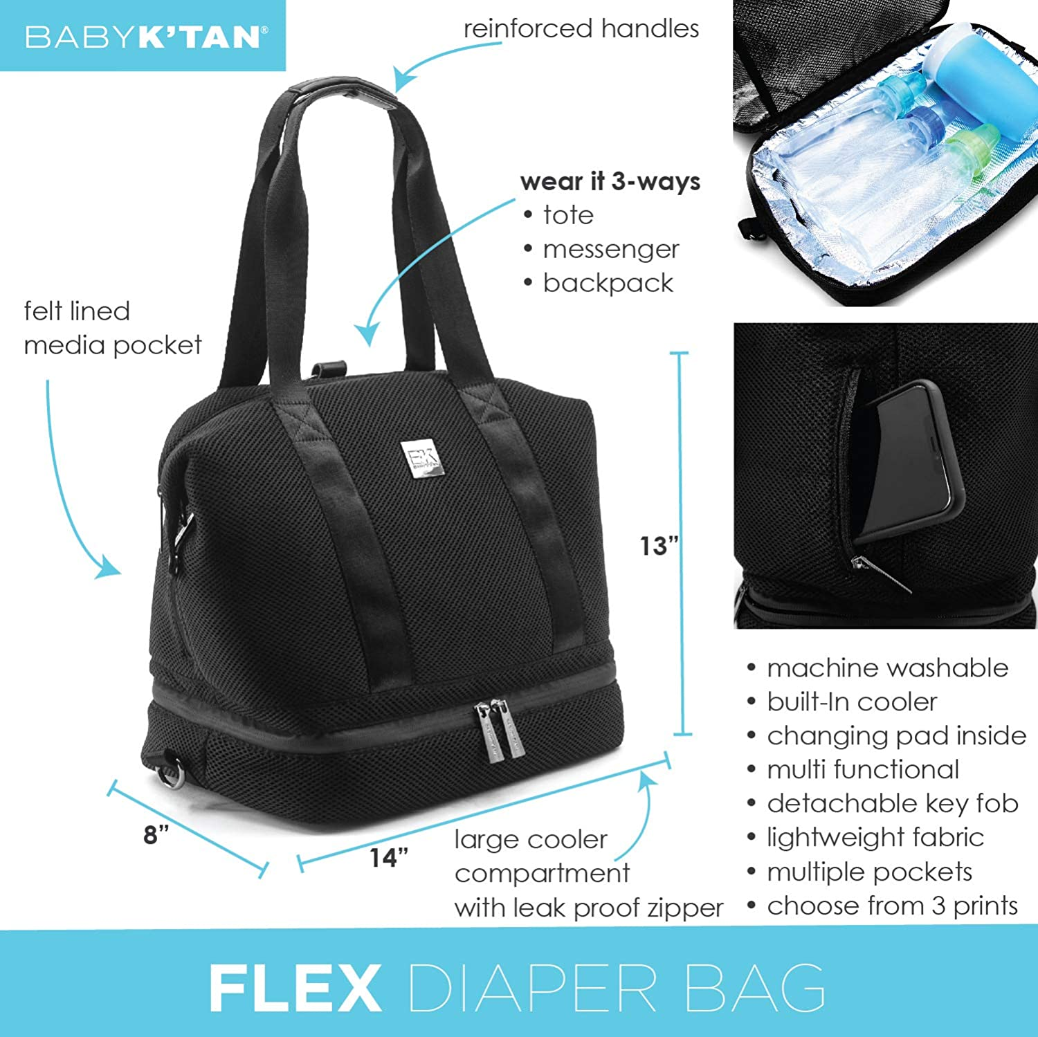 Baby K'tan Flex Diaper Bag - Black Mesh