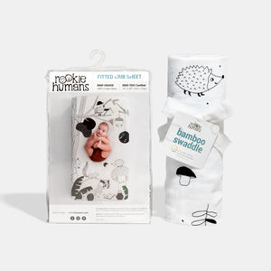 Rookie Humans Crib sheet and Swaddle bundle - Woodland Dreams