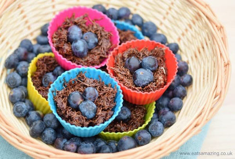 Healthy chocolate easter egg nests