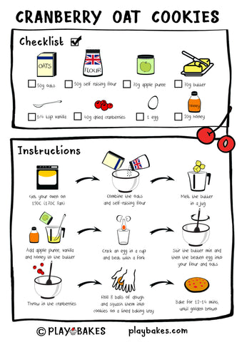 Illustrated recipe for Cranberry Oat Cookies