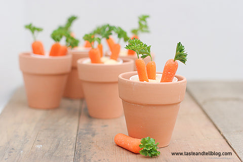 Flower pot healthy Easter snack for kids