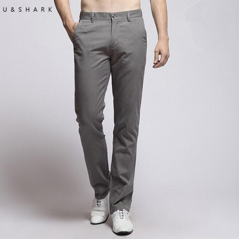 Fashion Mens Grey Casual Pants Noniron Cotton Formal Dress Pants Male Regular Fit Luxury Business Trousers for Men