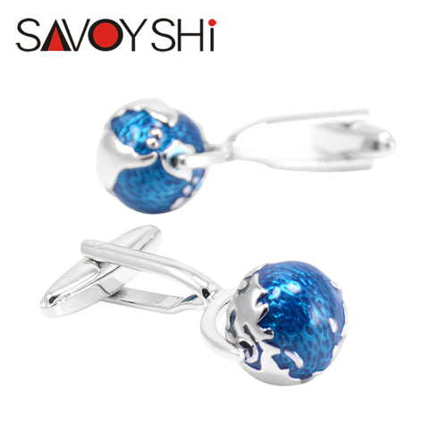 Tellurion Cufflinks for Mens Shirt Cuff bottons High Quality Blue Enamel Globe Cuff links Fashion SAVOYSHI Brand Jewelry Design