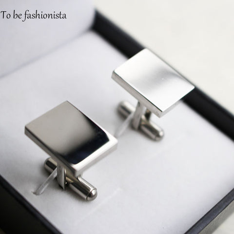 Cufflink jewelry 316L stainless steel fashion men's cufflinks rectangle shape business cuff links blank cufflinks sets for men