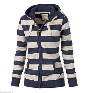 Hot Women Striped Zipper Hoodie Sweatshirt Jumper Top Hooded Pullover Winter