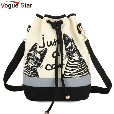 Vogue Star 2017 New Fashion Retro Women Canvas Bucket Bags Cute Cat Print Shoulder Bag Casual crossbody bag messenger bags LA108