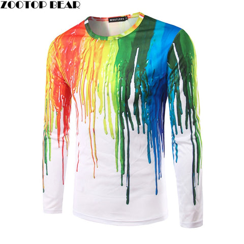 Men Splashed paint ink Long Sleeve Trend Character Round Neck Printed Quick Dry Personal ZOOTOP BEAR