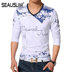 SEAUSLIM Spring Autumn Men Long Sleeve V-neck Men Cotton Tees Tops Men Print Casual T-shirt Plus size S- 5XL Q-SHYR-1