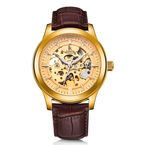 2017 IK Luxury Hollow Skeleton Gold Watch Men Steel Case Genuine Leather Strap Automatic Mechanical Watches Waterproof Clock New