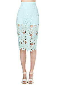Vagary Spring Elegant Ladies Work Wear Business Skirts Women Slim Pencil Knee Length Lace Skirt Mint Green Crochet Pencil Skirt