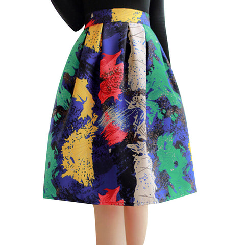 High Waist Pleated Midi Skirt Women Houndstooth Floral Print Long Skirts