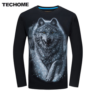 New Casual Shirt Men Snow Wolf Long Sleeve 3D Top Shirts Cotton Tops Tee Men Printed Hip Hop Camisetas