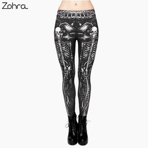 Black Skull Fashion fitness legging Digital 3D Print