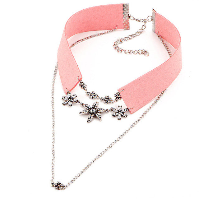 17KM New Fashion Crystal Flower Tattoo Choker Necklace for Women Black and Pink Velvet  Vintage Leather Necklaces Collar Jewelry