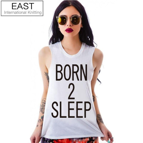 EAST KNITTING H777 2017 Summer New Arrival Women Tops Unique Letters Printed Girls Cropped Female Tank Top Sleeveless T Shirt
