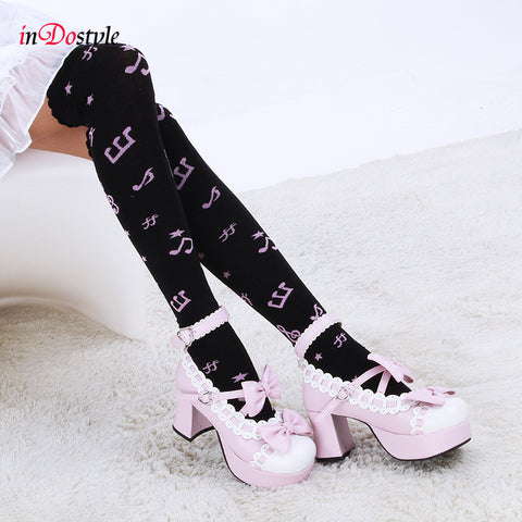 inDostyle Women Girl Thigh High musical note Cute Long Cotton Warm Over The Knee Socks,Fashion Knee High Socks 808009