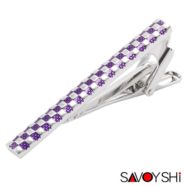 2 Styles Classic Purple Blue Enamel Lattice Tie Clips for Mens Necktie tie bar clasp tie clip 2017 Newest SAVOYSHI Brand Jewelry