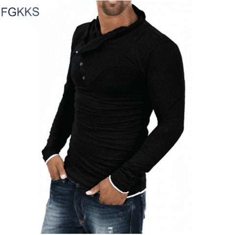 FGKKS New Arrival T shirt Men Fashion Solid Color Slim Fit Cool Long Sleeve Black T-shirt Men Tshirt Hip Hop Camisa Masculina