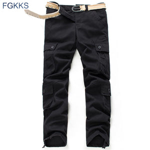 FGKKS 2017 New Brand High Quality Spring Style Mens Khaki Cargo Pants Casual Pants Men Joggers Pants Cotton Long Trousers