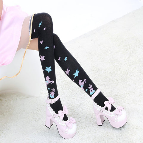 Japanese Style Girls Sweet Lolita School Girl Star hobbyhorse printed Over Knee Socks