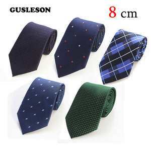 GUSLESON 8cm Ties New Brand Man Fashion Dot Striped Neckties Hombre Gravata Tie Classic Business Casual Green Tie For Men