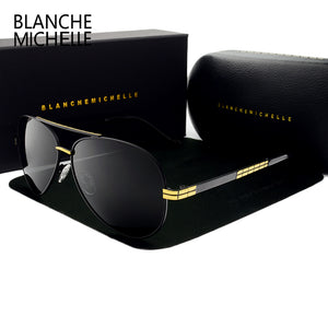 High quality New Pilot sunglasses men Polarized luxury brand vintage Mens Sun glasses Driving UV400 Sunglass With Box