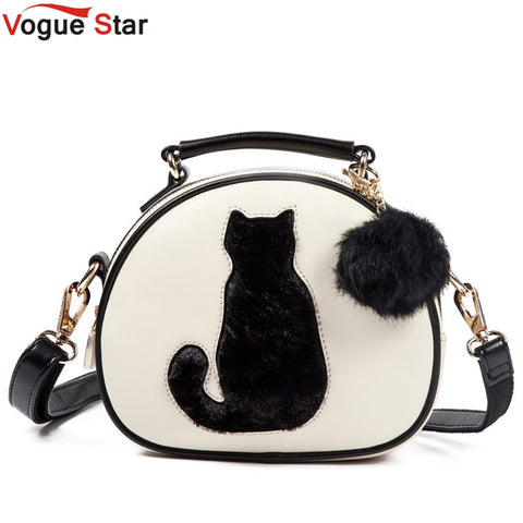 Vogue Star 2017 Cat Printing Bag Ladies Crossbody Bags Circle Women Leather Handbags with Fur Ball Women Messenger Bag  LS499