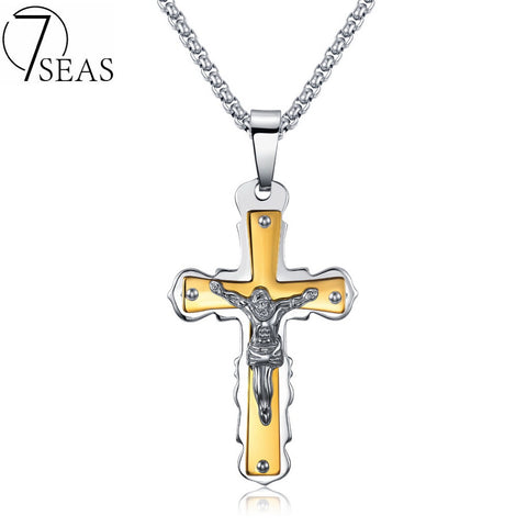 7SEAS Christos Jesus Cross Pendant Necklaces With 600mm Chain Gold Stainless Steel Jewelry Colar For Man Chocker Necklace 7S1159