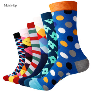 Match-Up Men's colorful combed cotton socks wedding gift socks (6pairs/lot )