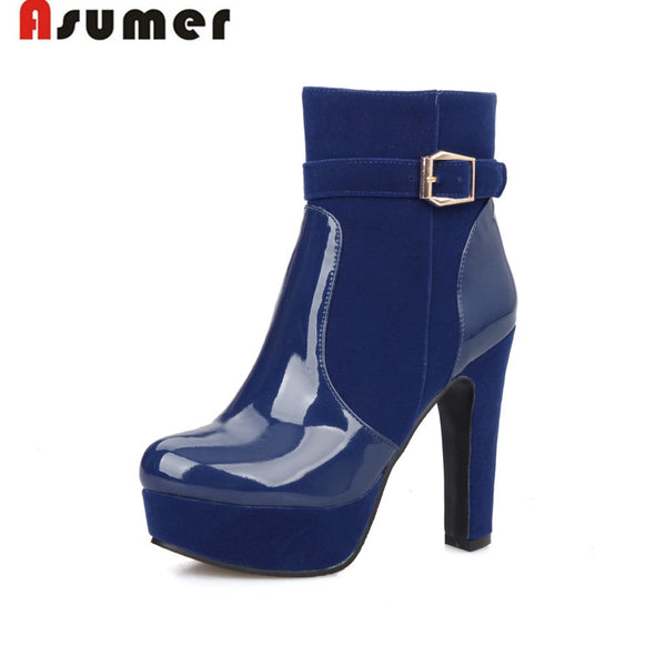 2017 autumn and winter pu leather blue red black ankle boots high heels platform patent leather buckle  round toe women boots