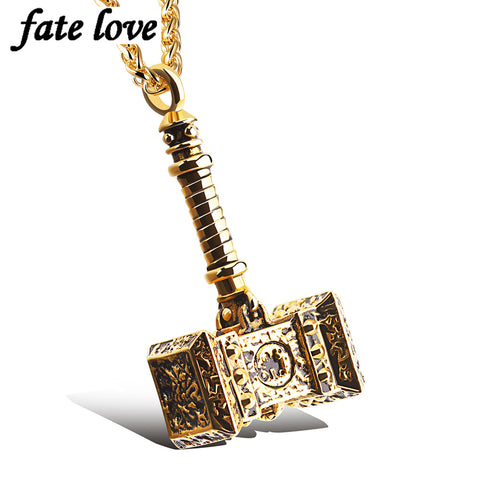 men jewelry accessories thor hammer pendant necklace stainless steel biker vintage steampunk gold Color mens necklaces
