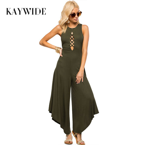 Kaywide Sexy Women Jumpsuit Bodycon Tank Lace Up Loose Romper Casual Club Irregular Pants Overalls Backless Long Black Rompers