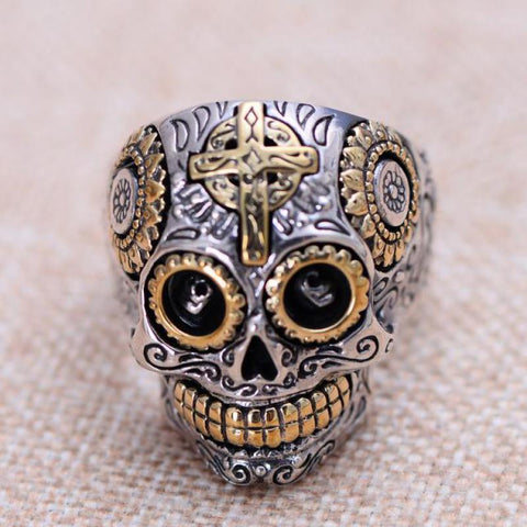 Real Solid 925 Sterling Silver Skull Rings For Men Retro Pure Gold  Cross And Sun Fower Engraved Vintage Punk Jewerly