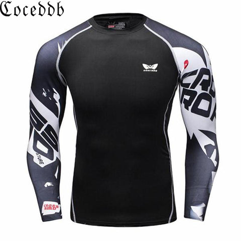 Muscle Men Compression Tight Skin Shirt Long Sleeves 3D Prints Rashguard Fitness Base Layer Weight Lifting Male Tops Wear