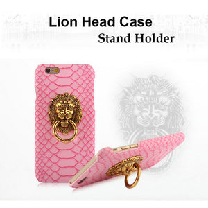 Luxury 3D lion head metal Ring holder Texture Leather Hard Cover Case For iphone 6 6S 6 6S plus