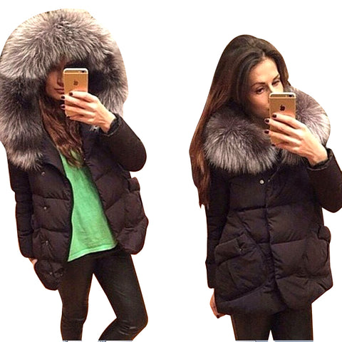 Winter Fashion Jackets Women Cotton Full Sleeve Covered Button with Pockets Hat with Feathers Light Down Jacket CC009