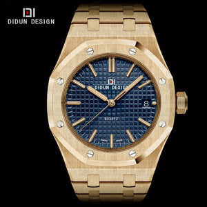 DIDUN Mens Full Steel Luxury Business Watches men Brand Quartz watches Men Dress Watch Luminous gold Wristwatch Water resistant